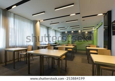 Interior of a room for seminars - stock photo