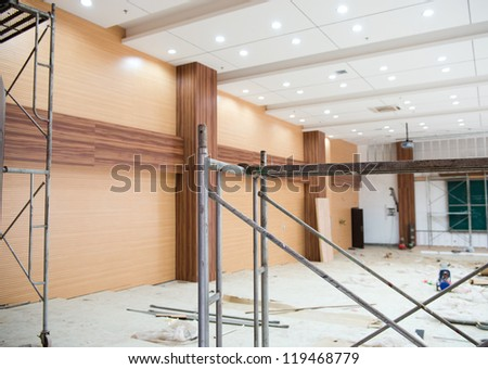 Interior of a room under construction. - stock photo