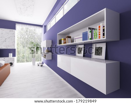Interior of a room with bookshelves 3d render - stock photo