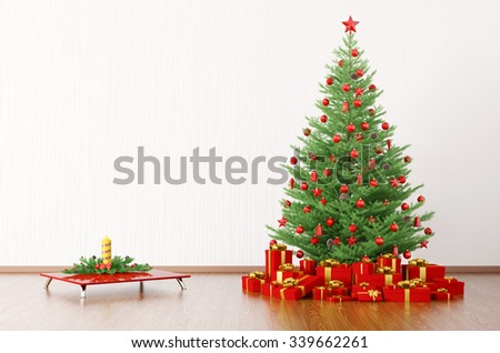 Interior of a room with christmas tree, candle on the table, gifts 3d render - stock photo