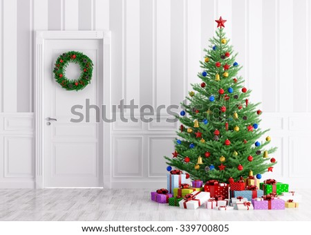 Interior of a room with christmas tree, gifts and wreath on door 3d rendering - stock photo
