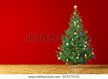 Interior of a room with christmas tree over red wall 3d rendering - stock photo