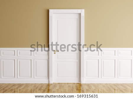 Interior of a room with classic door - stock photo