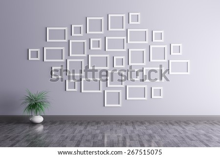 Interior of a room with frames 3d render - stock photo