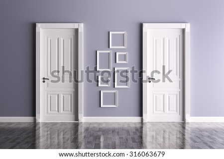 Interior of a room with two classic doors and frames - stock photo