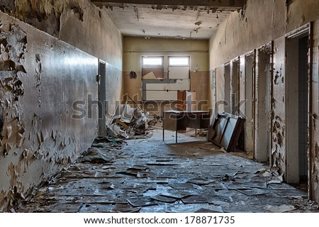 Interior of a ruined building - stock photo