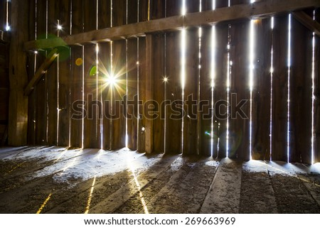 Interior of a Rustic Old Barn - stock photo