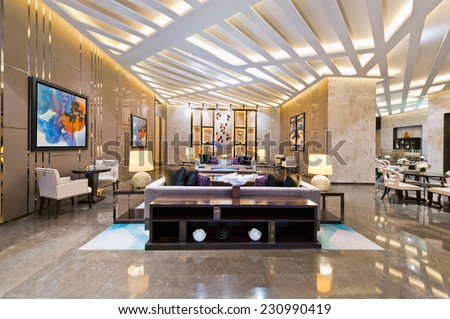 Interior of a sales office for a urban residential construction project - stock photo