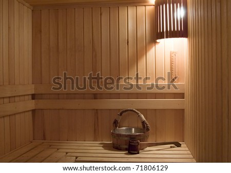 Interior of a sauna . Advantage for health. - stock photo