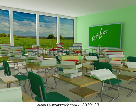 Interior of a school class. 3D image. - stock photo