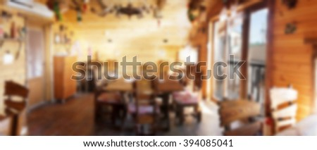interior small restaurant vintage blurred background 写真素材
