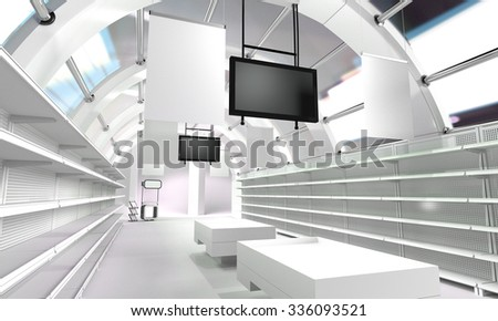 interior of a store. 3D rendering - stock photo