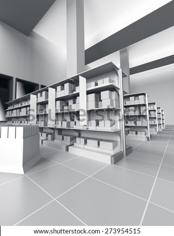 interior of a store with lots of products and shelfstoppers. 3D rendering - stock photo
