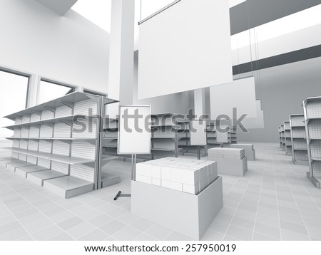 interior of a store with product island. 3D rendering - stock photo