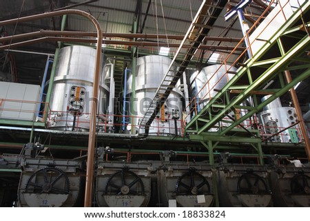 interior of a sugar factory - stock photo