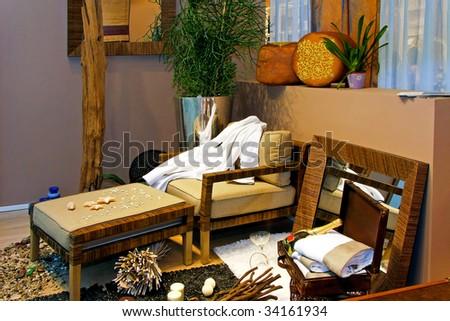 Interior of a summer beach holiday house - stock photo