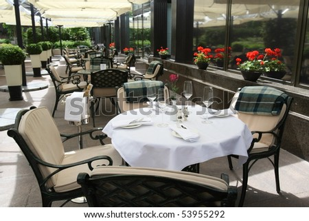 Interior of a summer terrace of restaurant - stock photo