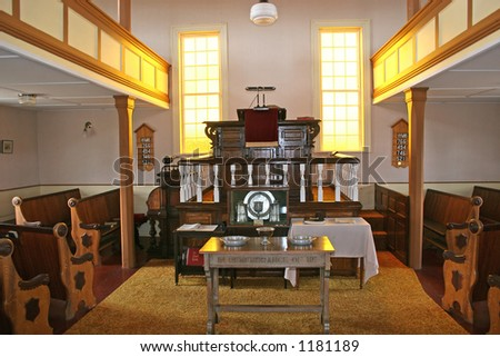 Interior of a 19th Century country church. - stock photo