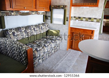 Interior of a 5th wheel recreational vehicle - stock photo