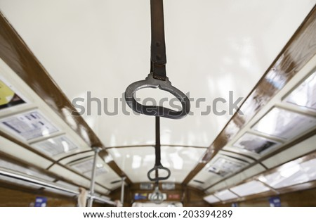 Interior of a tram in Lisbon, interior detail of a classic city transport - stock photo
