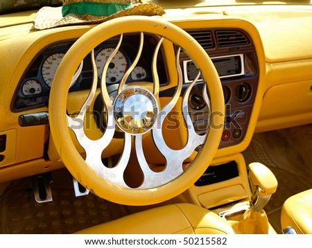 interior of a tuned car - stock photo
