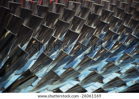Interior of a turbine, blades visible. - stock photo