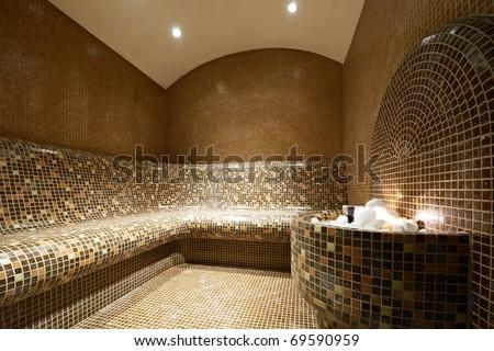 Interior of a Tutkish steam bath - stock photo