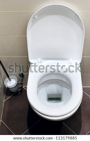 Interior of a typical water-closet with brush - stock photo
