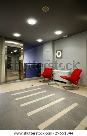 interior of a waiting room - stock photo