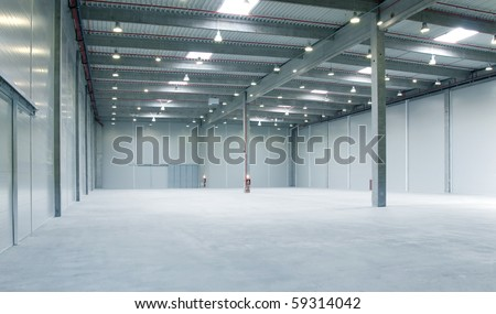 interior of a warehouse ,clean and empty