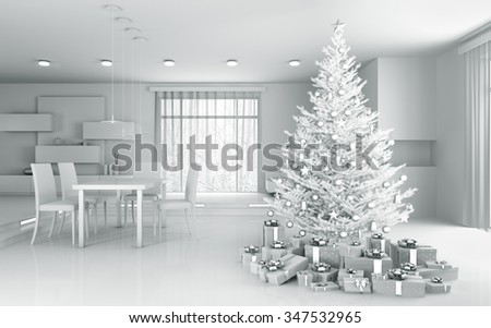 Interior of a white apartment with christmas tree and gifts 3d rendering - stock photo