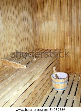 Interior of a woodmade sauna - stock photo