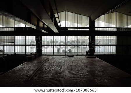 Interior of Abandon Architecture, silhouette image - stock photo