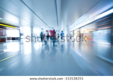 interior of airport - stock photo