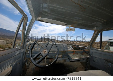 Interior of an abandoned American pick-up truck - stock photo