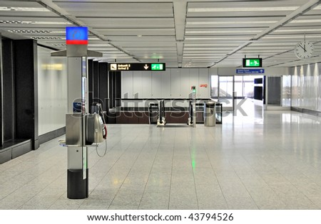 Interior of an airport - stock photo