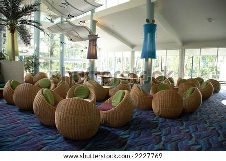 Interior of an anonymous hotel lobby in hamilton island, queensland, australia - stock photo
