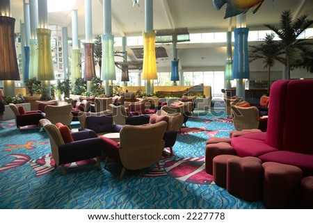 Interior of an anonymous hotel lobby in Whitsunday - stock photo