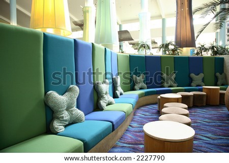 Interior of an anonymous hotel lobby in Whitsunday, australia - stock photo
