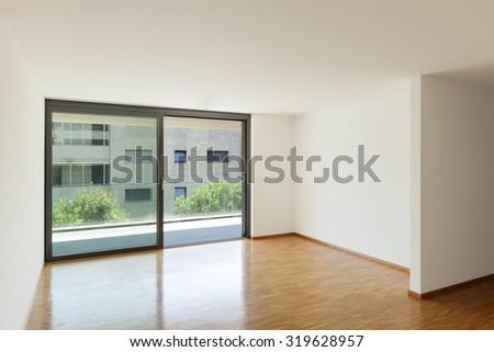 wonderful empty apartment living room | Interior Apartment Empty Living Room Balcony Stock Photo ...