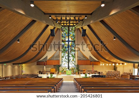 Interior of an empty church - stock photo