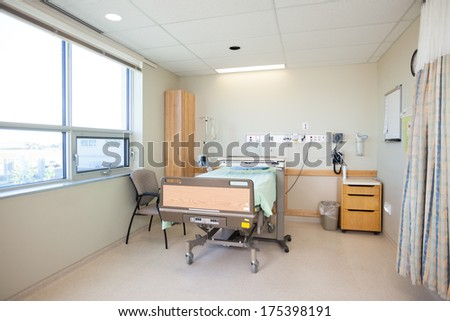 Interior of an empty hospital room