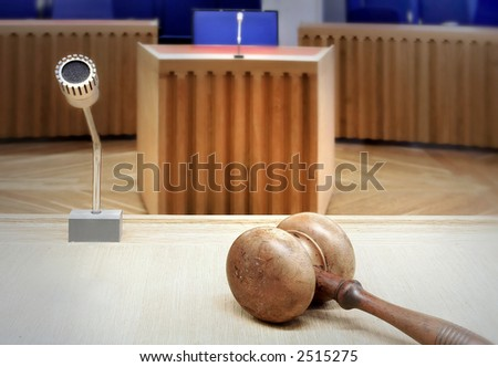 interior of an empty modern courtroom - stock photo