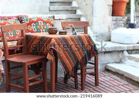 Interior of an empty turkish restaurant, Istanbul - stock photo