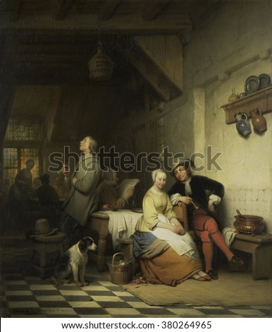 Interior of an Inn, with Figures in 17th Century Costume, by Ferdinand De Braekeleer, 1848, Dutch painting, oil on panel. A young man courts an woman, another smokes a pipe, and an old lady reads a ne