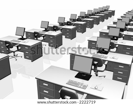 Interior of an office, desks and chairs with lcd screen, keyboard and mouse. Teamwork concept. Copy space,