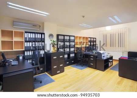 Interior of an office, modern design, simple furniture. - stock photo