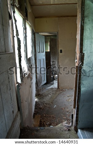 interior of an old abandoned and rundown house