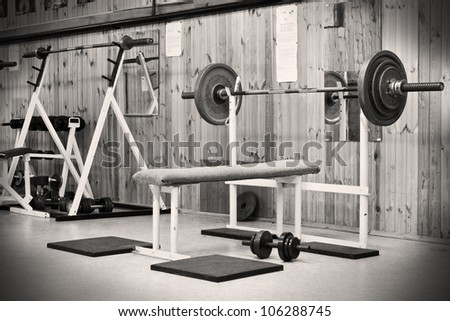interior of an old gym for bodybuilding - stock photo