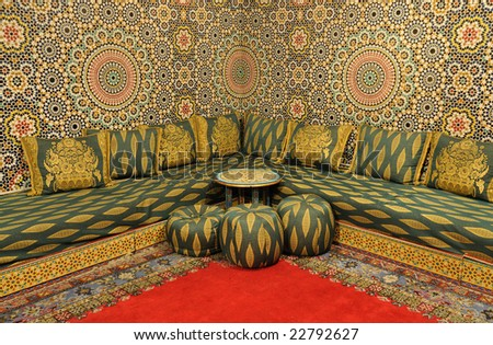 Interior of an oriental decorated room - stock photo